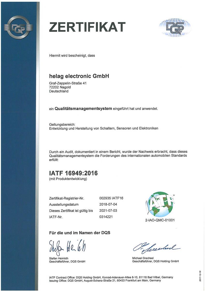 Zertifikat Qualitätsmanagementsystem-IATF-169492016